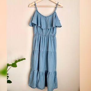 Old Navy Denim Chambray Midi Cold Shoulder Dress
